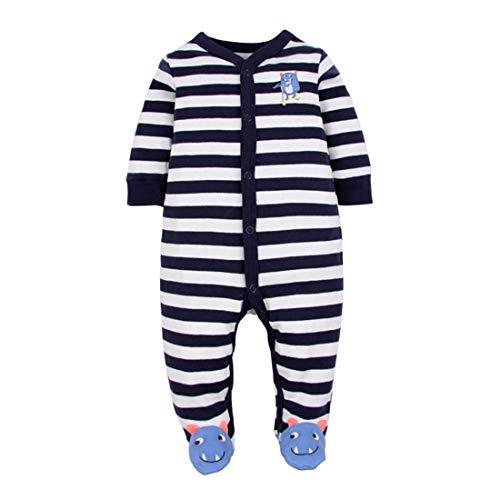 CARETOO Unisex Baby Schlafstrampler Bärchen, Baumwolle Pyjamas Cartoon Strampler, Blau und Weiß, Gr.-3-6 Monate/Etikettengröße- 6M