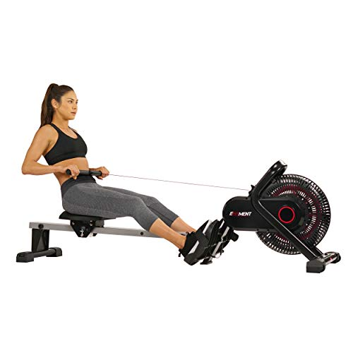 EFITMENT Aero Air Fan Rowing Machine Rower w/LCD Monitor, 245 LB Weight Capacity, 51 Inch Rail Length - RW036