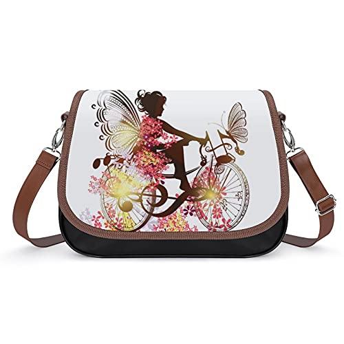Xingruyun Bolsos Bandolera Para Mujer Hada, Niña, Mariposa Bolsos De Hombro Cuero Shoulder Bag Grande Capacidad Cartera Para Escuela Viaje Oficina 31x22x11cm