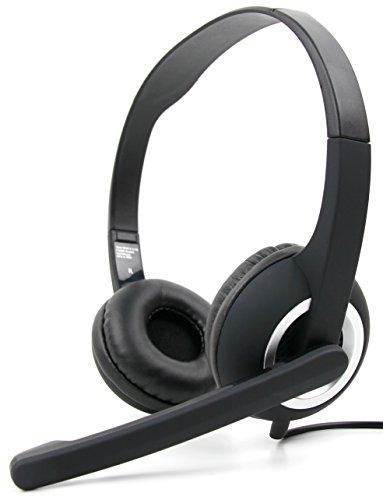 DURAGADGET Auriculares de Diadema Negros con micrófono móvil, Mando de Volumen y Doble Salida minijack para Monitor LG 22M47VQ-P, 25UM58-P, 29UM58-P, 29UM68-P/DELL UltraSharp U2414H