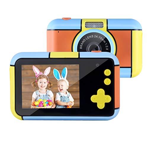 Mbuynow Fotocamera per bambini, fotocamera digitale con scheda SD da 32 GB, display LCD da 2,4 pollici, videocamera portatile giocattolo per bambini, per regali di compleanno per bambini (arancione)