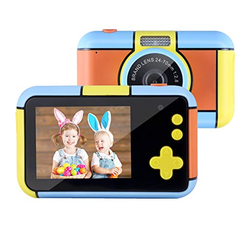 Mbuynow Cámara para niños, cámara digital infantil con pantalla de 2,4 pulgadas, cámara de 16 MP, 1080P HD, tarjeta TF de 32 G, resistente a los golpes, para niños de 3 a 8 años