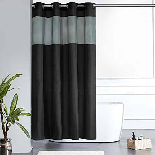 Furlinic Schmaler Duschvorhang für Eck Dusche Badewanne Badvorhang mit Gazefenster aus Stoff Schimmelresistent Wasserdicht Waschbar Schwarz 150x180 mit Groß Ösen.