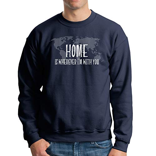 Home is Wherever I'm with You Map Travel Men's Crew Neck Hoodie Hoodie Jacket Hoody Pullovers Sweatshirt Fleeces Costume Navy S