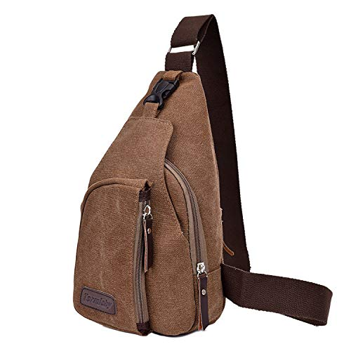 Termichy Coole Outdoor Sports beiläufige Segeltuch Unbalance Rucksack Umhängetasche Sling Bag, Schleuder Tasche Chest Pack,Schulterrucksack Brusttasche für Männer(schwarz)