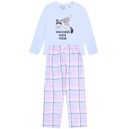 Grumpy Cat Mürrische Katze Einhorn Schlafanzug-Set Pyjama Nachtwäsche Baumwolle - 44-46 / UK 18-20 / EU 46-48