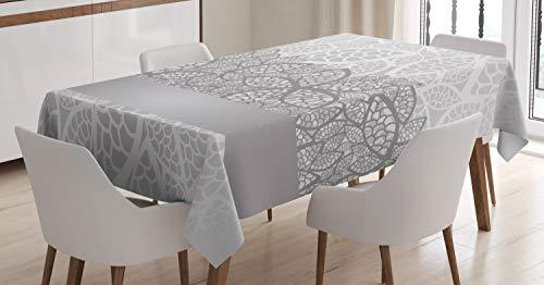 ABAKUHAUS Gris Mantele, Inspirado Encaje Floral, Estampado con la Última Tecnología Lavable Colores Firmes, 140 x 200 cm, Gris pálido Gris Blanco