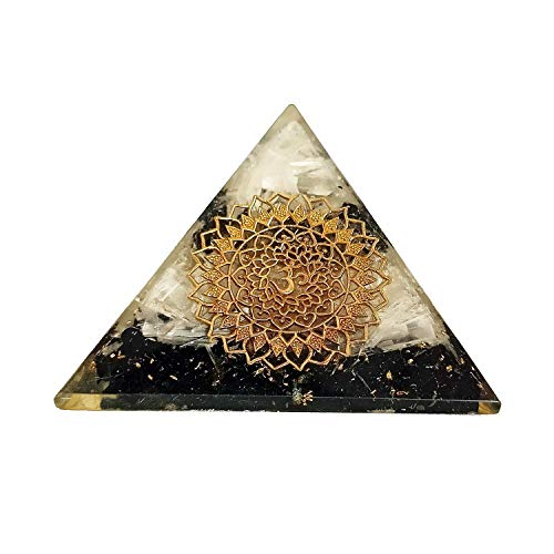 Sharvgun Energy Generator Black Tourmaline Salenite with Om Symbol Healing Crystal Pyramid Emf Protection and Meditation Yoga 2.5-3 Inch