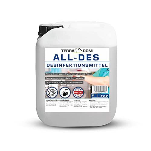 TerraDomi All-Des 5 Liter Desinfektionsmittel ohne Parfüm für Hände und Flächendesinfektion gegen 99,9{596ac5b3bb7faf0dbafc286fb70d4a65799cc6bf1bba55743489d9438b516dbc} aller Pilze, Viren, Bakterien und Sporen, Made in Germany