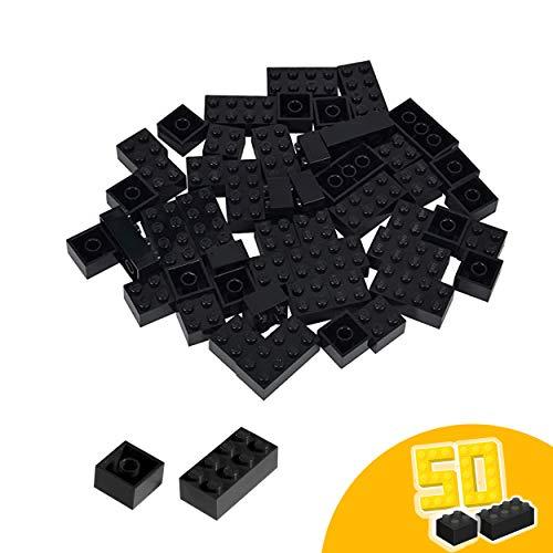 Simba 104114126 Steine-104114126 Blox, 50 schwarze Bausteine Made in Italy, 16x 8er und 34x 4er Steine, höchste Qualität und 100 Prozent kompatibel mit bekannten Spielsteinen