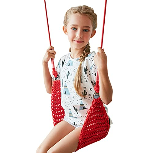 HOMELECT Asiento de Columpio para niños, Columpio de Malla portátil con Cuerda Ajustable, Adecuado para árboles de Patio Interior al Aire Libre Adecuado para 2 a 12 años, Capacidad de 300 kg,Rojo