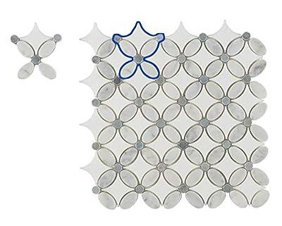 Louis Flower Polished Carrera Marble Mosaic Tiles for Kitchen Bathroom Wall Floor Backspalsh Tiles by Li Decor