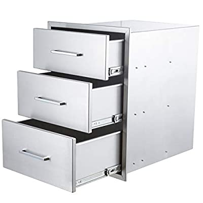 "yuxiangBBQ Outdoor Kitchen Drawers Stainless Steel,14"" W x 20"" H Triple Drawers,Flush Mount for Outdoor Kitchen or BBQ Island"
