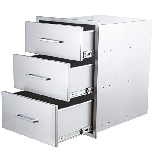 """yuxiangBBQ Outdoor Kitchen Drawers Stainless Steel,14"""" W x 20-1/2""""H x 23"""" D Triple Drawers,Flush Mount for Outdoor Kitchen or BBQ Island"""