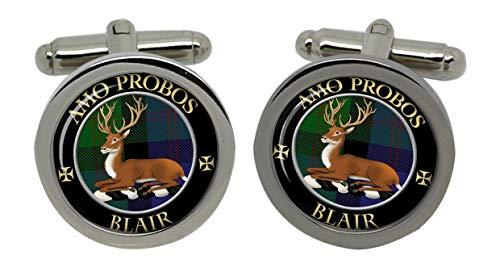 Blair Clan écossais pour homme Écusson Chrome Boutons de manchette avec coffret cadeau