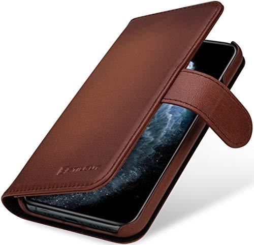 StilGut Talis kompatibel mit iPhone 11 Pro Hülle mit Kartenfach aus Leder, Wallet Hülle, Handyhülle mit Fächern und Magnetverschluss – Braun Antik