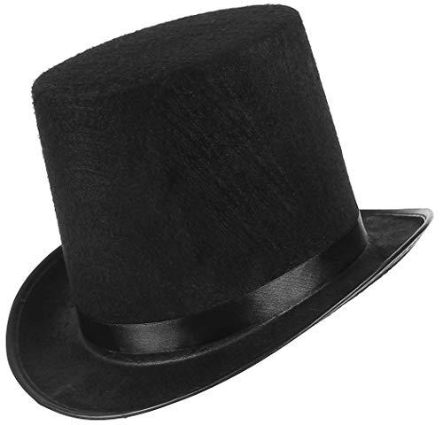EOZY Zylinder Hut Herren Damen Hoher Hut Erwachsenenhut mit Satinband Top Hat Partyhut für Zauberer Karneval Fasching (Kappenhöhe 16cm, Schwarz)