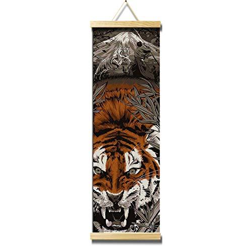QJXX CuadrosEnLienzo Mighty Tiger Canvases Pintura Colgador De Impresión para La Decoración del Hogar Arte De La Pared para La Tira con Cable,25 * 80Cm