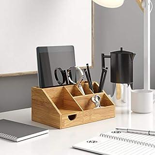 Bamboo Desk Tidy Organiser,NETUME Wooden Stationery Organiser with Pen Holder Letter Rack for Desktop Storage, Handcraft D...