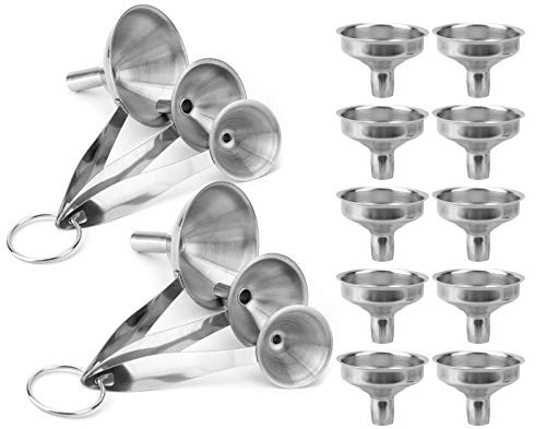 Yesland 16 Pack Kitchen Funnel Set, 3-in-1 Stainless Steel Funnels & Mini Funnels, Small Metal Bottle Funnel for Transferring Essential Oils, Liquid, Fluid, Dry Ingredients and Powder