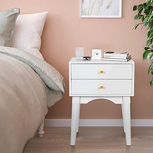 White Nightstands Side Tables Sofa End Table with 2 Storage Drawers Wood Legs Small Bedside Table for Bedroom Furniture Snack Night Table