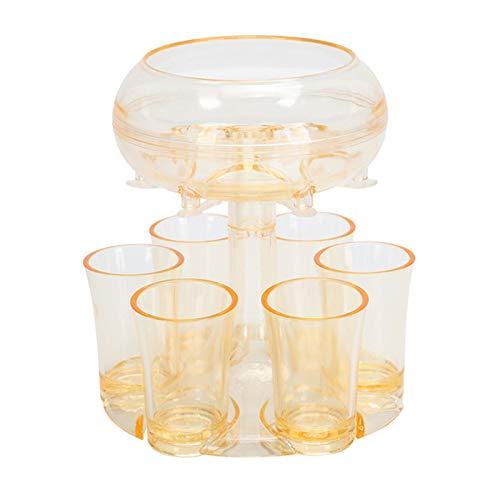 Dispensador de vidrio para 6 tazas y portavasos, dispensador de líquido completo, dispensador de 6 líquido completo, sacacorchos, dispensador de cóctel, dispensador de cóctel para fiestas ,Amarillo