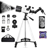 PIKFOS Telescope for Astronomy Beginners Kids Adults, 70mm Aperture 400mm Astronomical Refracting Portable Telescope - Travel Telescope with Phone Adapter Carry Bag