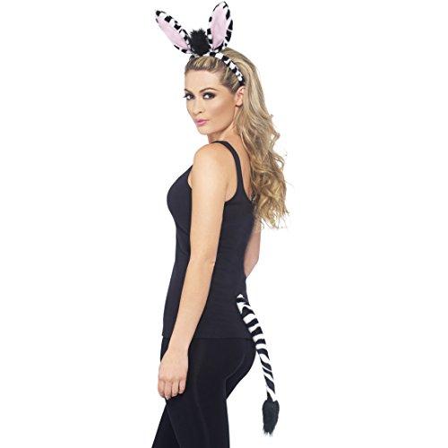 Amakando Disfraz de cebra, orejas y cola de cebra, disfraz de animal, disfraz de animales de zoo