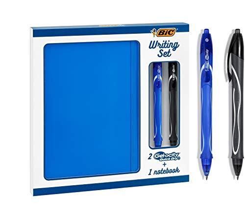 BIC Writing Set - 2 BIC Gel-ocity Quick Dry Penne Gel con Punta Media (0,7 mm) E 1 Taccuino A Righe A5, Set Da Regalo Da 3