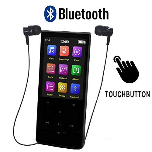 MP3 Player speler met Bluetooth 8GB Touch Button Lossless Sound ES Traders® Build-in Speaker Music Player FM Radio Ondersteunt 64GB SD-kaart