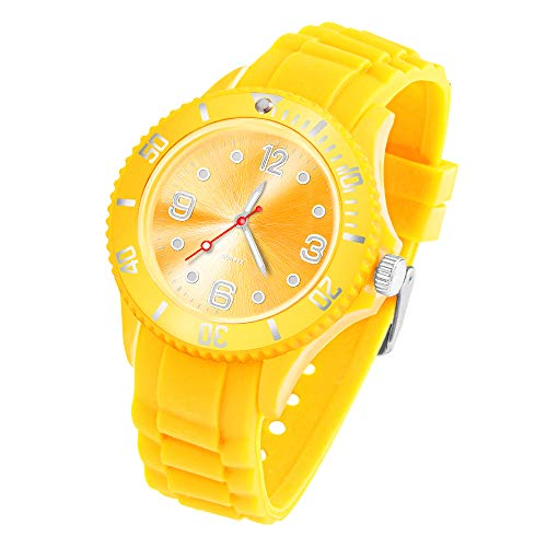 Taffstyle Armbanduhr Silikon Analog Quarz Uhr Farbige Sport Sportuhr Damen Herren Kinder Unisex 39mm Gelb