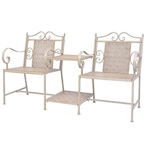 Festnight 2-seater Garden Loveseat Companion Seat Steel Garden Furniture Sets White