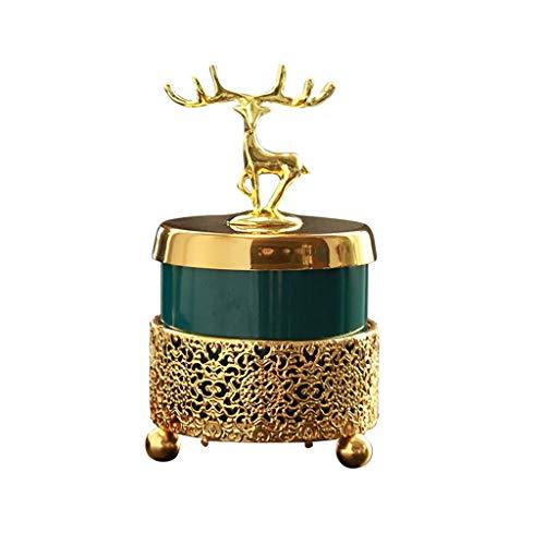 dxjsf Cenicero cerámico Oro Marco de Hierro al Aire Libre Interior Oficina decoración de Escritorio decoración Verde cenicero Recto cenicero (Size : B)