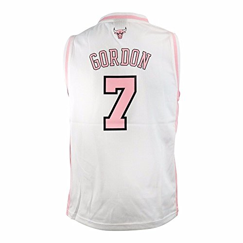 adidas Ben Gordon Chicago Bulls NBA White Official Fan Fashion Pink Basketball Jersey for Girls (L)
