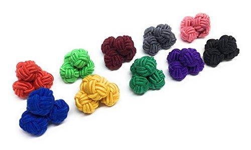 Gentleman: 10 Paare hochwertige einfarbige Seidenknoten Manschettenknöpfe