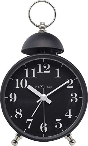 NeXtime Reloj – Diámetro 16 cm Metal – Negro – Alarma Fuerte – Campana Individual – 9,2 x 0,04 cm
