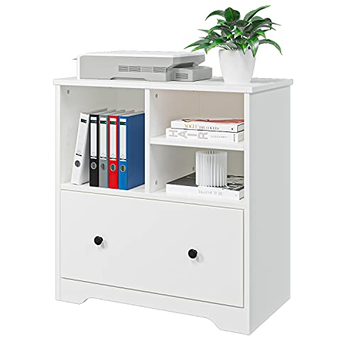Wood File Cabinet with a Big Drawer, Mobile Lateral Filing Cabinet for Home Office Storage Cabinet Organizer (White)