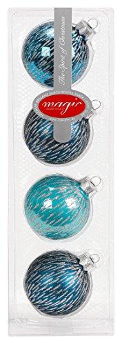 Lot de 4 boules de Noël - Turquoise glamour - 6 cm - Moderne - Argent - Paillettes - Décoration de Noël - Menthe