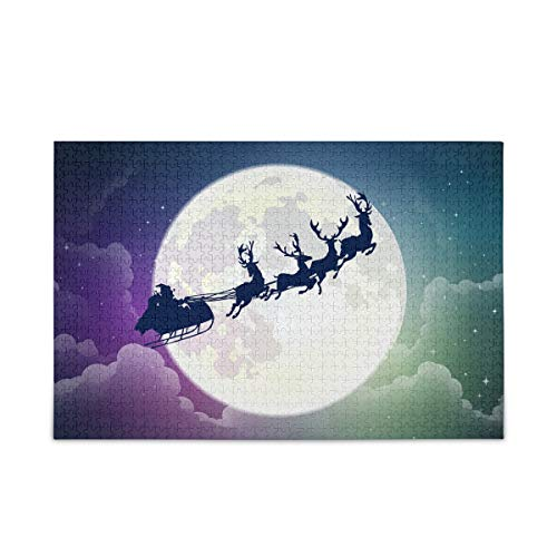 Jigsaw Puzzles 1000 Pieces for Adults Reindeer Santa Claus Puzzle Fun Family Game Moon Night View Kids Toy Educational Intellectual Decompressing 2063276