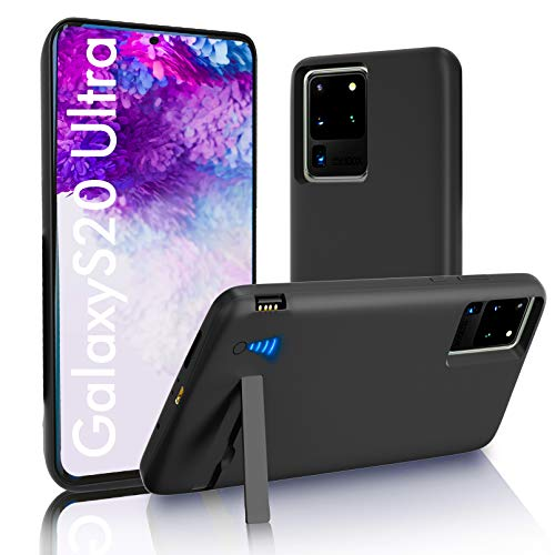 """SlaBao Galaxy S20 Ultra Battery Case, Kickstand & Dual Device Charging & Priority Charging Case, 6000mAh Portable Backup Charger Case for Samsung S20 Ultra 5g(6.9"""") Black"""