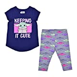STAR WARS Lucasfilm The Child Baby Yoda Girl's 2-Pack Tee Shirt and Leggings Set for Toddlers, Navy and Gray, 3T