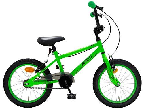 Amigo Fly - Bicicletta per bambini 16 pollici - Per ragazzi e ragazze dai 4 ai 6 anni - Bicicletta BMX con freno a mano - Verde