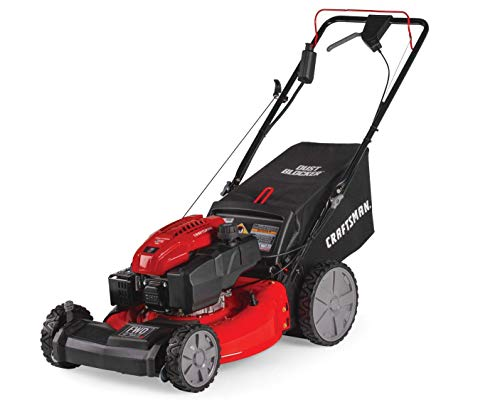 Craftsman M275 159cc 21-Inch 3-in-1 High-Wheeled Self-Propelled FWD Gas Powered Lawn Mower, with Bagger, Red (Renewed)