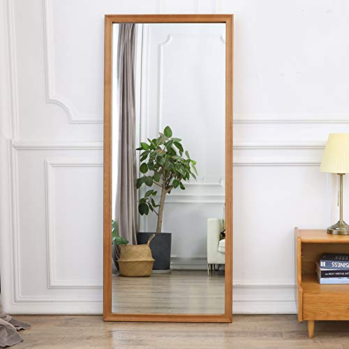 "Full Length Mirror 65""x24"" Wall Hanging/Standing, Bedroom Floor Mirror Dressing Mirror with Vertical Solid Wood Frame, Classic Wall Mounted Mirror Door Mirror (Nature)"