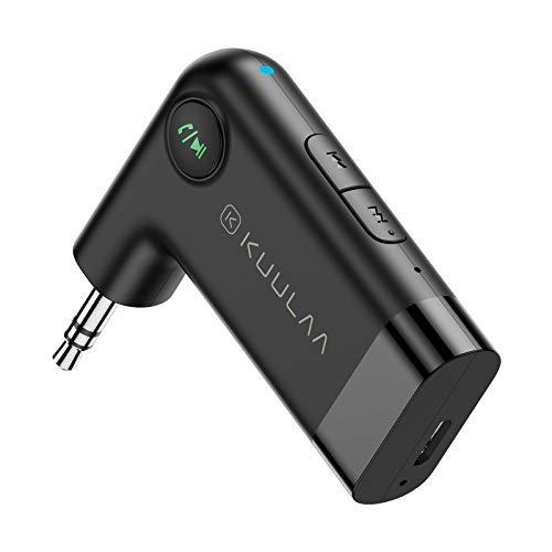 Kuulaa Récepteur Bluetooth V5.0, Adaptateur jack3.5mm AUX Jack et USB Adaptateur Audio sans Fil avec Micro Intégré ,pour Haut-Parleur Domestique de Voiture Streaming de Musique Audio (Noir)