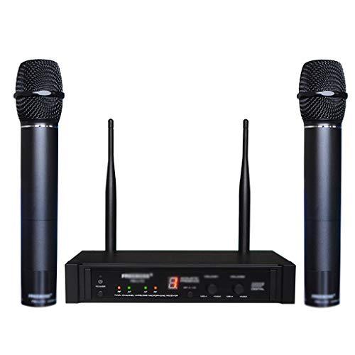 SSMDYLYM Dual Way UHF - Micrófono inalámbrico digital (2 unidades, metal, 2 piezas), color plateado