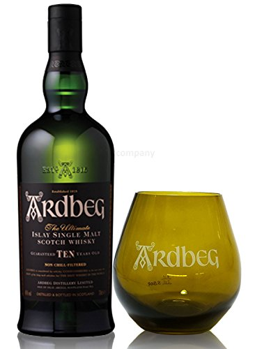 Ardbeg Whisky Islay Single Malt 10 Jahre 0,7l 700ml (46% Vol) + Whisky Tumbler Glas 2/4cl geeicht -[Enthält Sulfite]