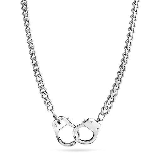 Bling Jewelry Arbeiten Partner In Crime Schwarz Handschellen Statement-Halskette Für Herren Für Damen Edelstahl