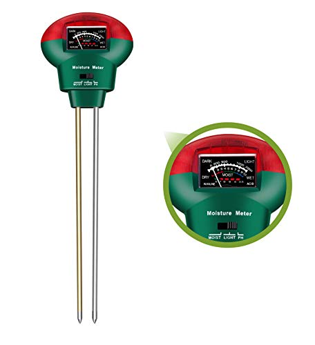 Soil Tester, Soil Moisture Meter 3-in-1 Easy-to-Read Soil Moisture pH Light Test Kit for Vegetables Farm Lawn Care Indoor Outdoor Use (No Battery Needed)
