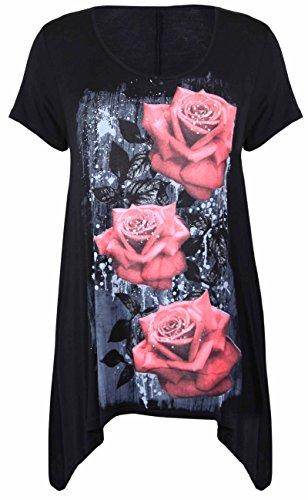 Neue Womens Plus Größe Uneben Zipfelsaum Kurzarm T-Shirt oben Damen Blumen Rosen Druck Jersey Tunika - Schwarz, Damen, 54-56